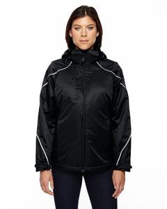 Ash City - North End Ladies' Angle 3-in-1 Jacket with Bonded Fleece Liner Black Front