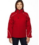 Ash City - North End Ladies' Angle 3-in-1 Jacket with Bonded Fleece Liner Classic Red Front