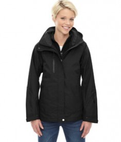 Ash City - North End Ladies' Caprice 3-in-1 Jacket with Soft Shell Liner Black Front