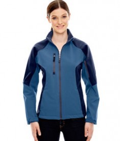 Ash City - North End Ladies' Compass Colorblock Three-Layer Fleece Bonded Soft Shell Jacket Blue Ridge
