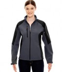 Ash City - North End Ladies' Compass Colorblock Three-Layer Fleece Bonded Soft Shell Jacket Fossil Grey