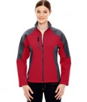 Ash City - North End Ladies' Compass Colorblock Three-Layer Fleece Bonded Soft Shell Jacket Molten Red