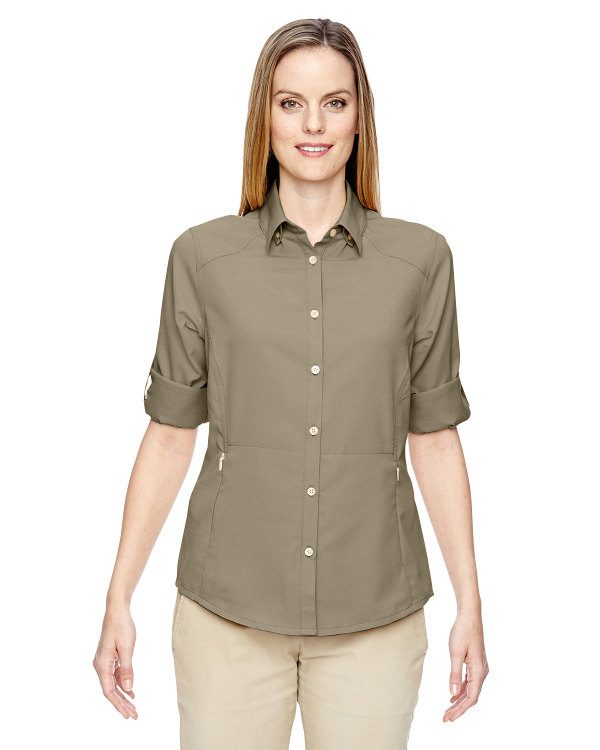 Ash City - North End Ladies' Excursion Concourse Performance Shirt Stone