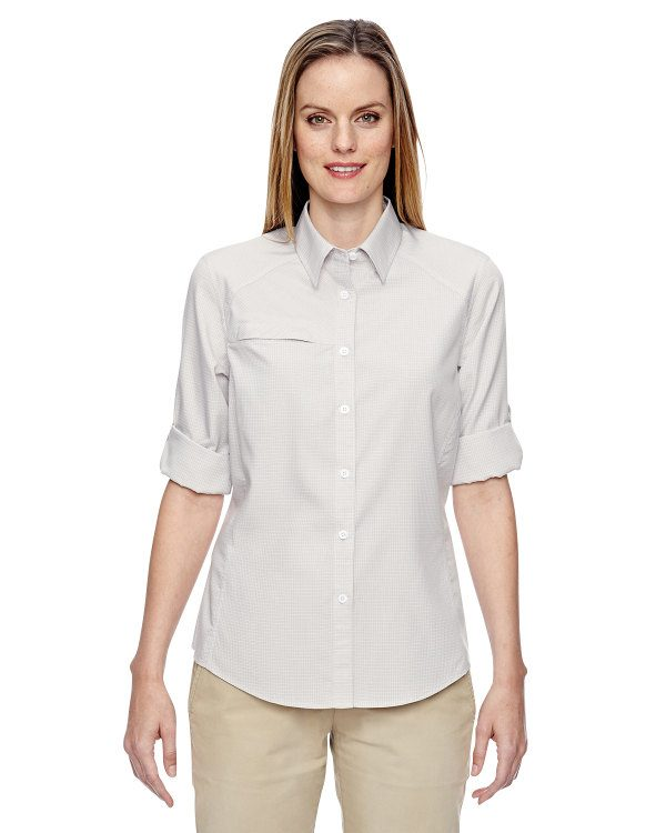 Ash City - North End Ladies' Excursion F.B.C. Textured Performance Shirt Crystal QRTZ