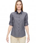 Ash City - North End Ladies' Excursion F.B.C. Textured Performance Shirt Navy