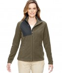 Ash City - North End Ladies' Excursion Trail Fabric-Block Fleece Jacket Dark Oakmoss