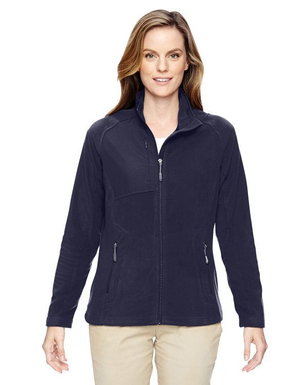 Ash City - North End Ladies' Excursion Trail Fabric-Block Fleece Jacket Navy