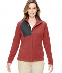 Ash City - North End Ladies' Excursion Trail Fabric-Block Fleece Jacket Rust