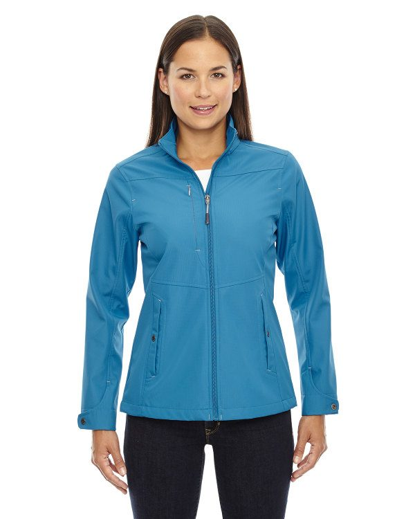 Ash City - North End Ladies' Forecast Three-Layer Light Bonded Travel Soft Shell Jacket Blue Ash
