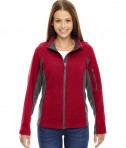 Ash City - North End Ladies' Generate Textured Fleece Jacket Classic Red