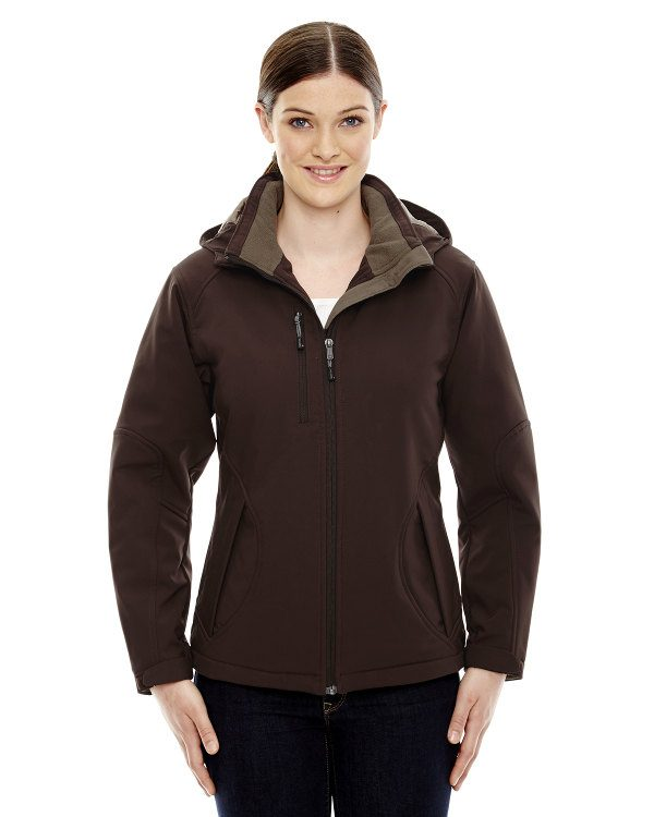 Ash City - North End Ladies' Glacier Insulated Three-Layer Fleece Bonded Soft Shell Jacket with Detachable Hood DK Chocolate