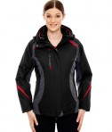 Ash City - North End Ladies' Height 3-in-1 Jacket with Insulated Liner Black Classic Front
