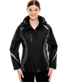 Ash City - North End Ladies' Height 3-in-1 Jacket with Insulated Liner Black Front