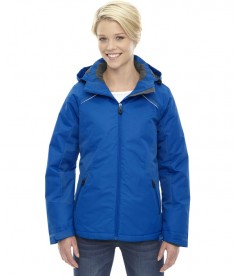 Ash City - North End Ladies' Linear Insulated Jacket with Print Nautical Blue