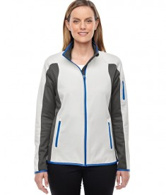 Ash City - North End Ladies' Motion Interactive ColorBlock Performance Fleece Jacket Crystal QRTZ/DGR