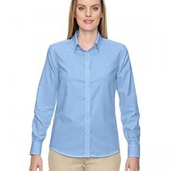 ash-city-north-end-ladies-paramount-wrinkle-resistant-cotton-blend-twill-checkered-shirt-light-blue