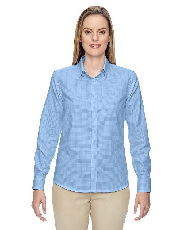 Ash City - North End Ladies' Paramount Wrinkle-Resistant Cotton Blend Twill Checkered Shirt Light Blue