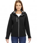 Ash City - North End Ladies' Prospect Two-Layer Fleece Bonded Soft Shell Hooded Jacket Black