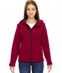 Ash City - North End Ladies' Prospect Two-Layer Fleece Bonded Soft Shell Hooded Jacket Molten Red
