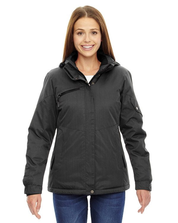 Ash City - North End Ladies' Rivet Textured Twill Insulated Jacket Carbon
