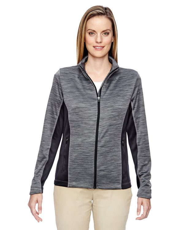 Ash City - North End Ladies' Shuffle Performance Mélange Interlock Jacket Black