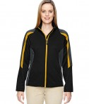 Ash City - North End Ladies' Strike Colorblock Fleece Jacket Black Campus Gold