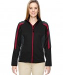 Ash City - North End Ladies' Strike Colorblock Fleece Jacket Black/Classic Red