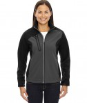 Ash City - North End Ladies' Terrain Colorblock Soft Shell with Embossed Print BLK Silk