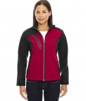 Ash City - North End Ladies' Terrain Colorblock Soft Shell with Embossed Print Classic Red