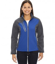 Ash City - North End Ladies' Terrain Colorblock Soft Shell with Embossed Print Nautical Blue