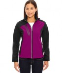 Ash City - North End Ladies' Terrain Colorblock Soft Shell with Embossed Print RA Spberry