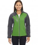 Ash City - North End Ladies' Terrain Colorblock Soft Shell with Embossed Print Valley Green