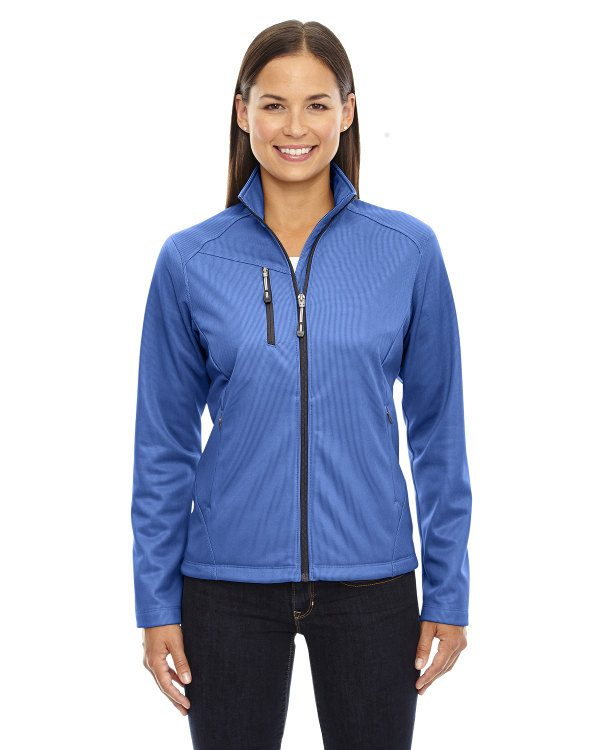 Ash City - North End Ladies' Trace Printed Fleece Jacket Nautical Blue