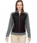 Ash City - North End Ladies' Victory Hybrid Performance Fleece Jacket Black/CL Red