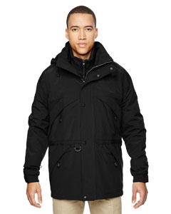 Ash City - North End Men's 3-in-1 Parka with Dobby Trim Black Front