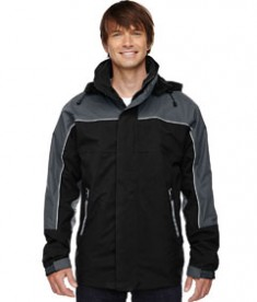 Ash City - North End Men's 3-in-1 Seam-Sealed Mid-Length Jacket with Piping Black Front