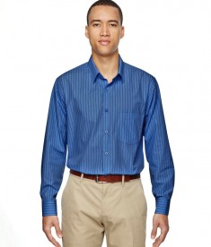 Ash City - North End Men's Align Wrinkle-Resistant Cotton Blend Dobby Vertical Striped Shirt Deep Blue