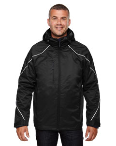 Ash City - North End Men's Angle 3-in-1 Jacket with Bonded Fleece Liner Black Front