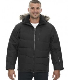 Ash City - North End Men's Boreal Down Jacket with Faux Fur Trim Black