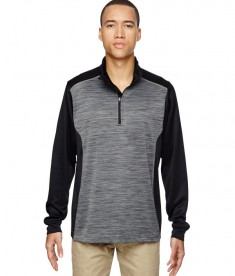 Ash City - North End Men's Conquer Performance Mélange Interlock Half-Zip Top Black
