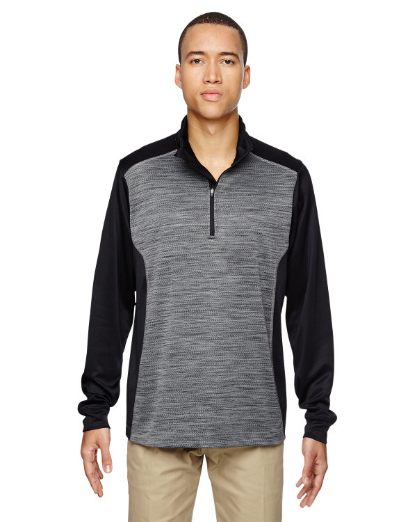 ash-city-north-end-mens-conquer-performance-mélange-interlock-half-zip-top-black