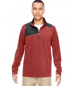 Ash City - North End Men's Excursion Trail Fabric-Block Fleece Half-Zip Rust