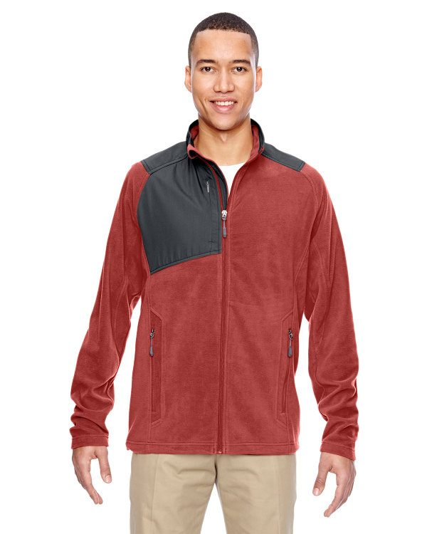 Ash City - North End Men's Excursion Trail Fabric-Block Fleece Jacket Rust