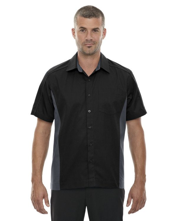 Ash City - North End Men's Fuse Colorblock Twill Shirt Black
