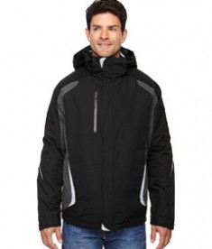 Ash City - North End Men's Height 3-in-1 Jacket with Insulated Liner Black Front