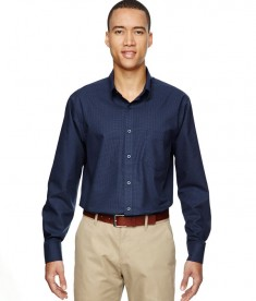Ash City - North End Men's Paramount Wrinkle-Resistant Cotton Blend Twill Checkered Shirt Classic Navy