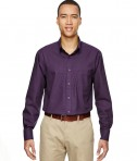 Ash City - North End Men's Paramount Wrinkle-Resistant Cotton Blend Twill Checkered Shirt Mulbry Purple