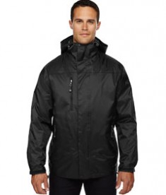 Ash City - North End Men's Performance 3-in-1 Seam-Sealed Hooded Jacket Black Front