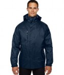 Ash City - North End Men's Performance 3-in-1 Seam-Sealed Hooded Jacket Midnight Navy Front