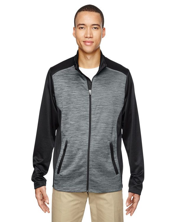 Ash City - North End Men's Shuffle Performance Mélange Interlock Jacket Black